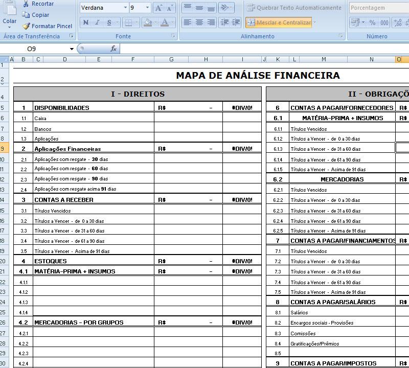 Planilha Mapa de Analise Financeira Excel