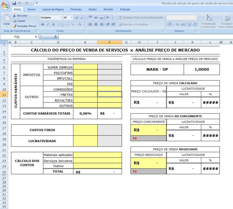 Planilha de Cálculo do Preço de Venda de Serviços