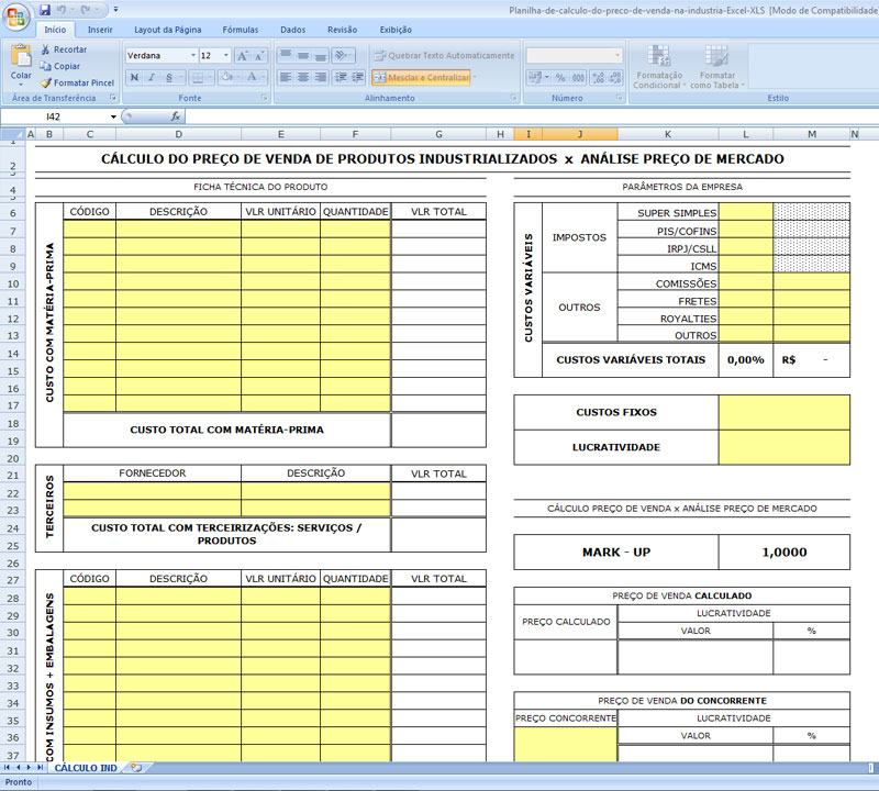 Planilha de Cálculo de Venda de Produtos na Indústria