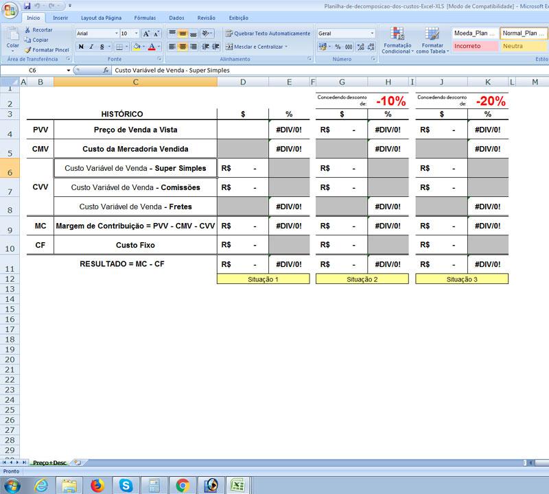 Planilha de Decomposição de Custos